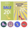 shopping night with big sale in shoes store poster vector image vector image