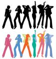 silhouettes of dancing peoples vector image vector image