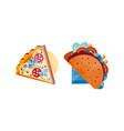 slice pizza and tacos set top view of vector image