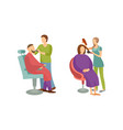 spa salon woman and man barber hairdresser vector image