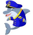 Standing little cartoon Dolphin using uniform Capt vector image vector image