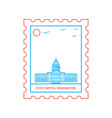 state capital washington postage stamp blue and vector image
