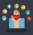 tele medicine online with laptop vector image