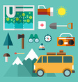 tourist equipment set icons and in flat design vector image