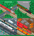 trains isometric design concept vector image