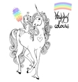 unicorn and princess vector image vector image
