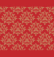 vintage golden floral pattern seamless on red vector image