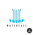 Waterfall logo Parallel lines water wloods falling vector image