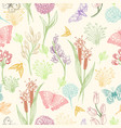 wildflower sketch pattern vector image vector image