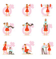 woman in red dress taking on traditional male vector image vector image