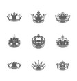 king crowns logos royal vector image