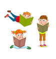 children read the book with interest vector image
