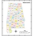 alabama state outline administrative map vector image vector image