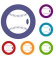 baseball ball icons set vector image vector image