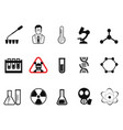 black chemistry icons set vector image vector image