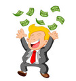 businessman happy under falling raining money show vector image
