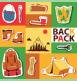 camping stickers survival exploration tourism and vector image vector image