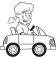 Cartoon girl driving a toy car vector image