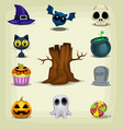 cartoon halloween stuff item cute collection set vector image vector image