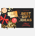 christmas sale best gift ideas black gift box on vector image