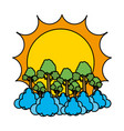 color sun with exotic trees and clouds landscape vector image vector image