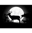 Deer silhouettes with giant moon background vector image vector image