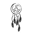 figure hippie emblem symbol with feathers design vector image vector image
