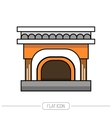 Flat color icon fireplace stove isolated on white vector image vector image