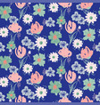 floral seamless blue pattern with wildflowers and vector image vector image