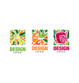 fresh fruits logo design set vegetarian food vector image