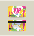front and back vip member card template vector image vector image
