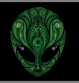 green drawing an aliens head vector image