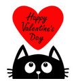 happy valentines day text black cat looking up to vector image vector image