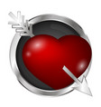 heart pierced an arrow in a silver circle vector image