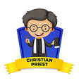Label design with christian priest vector image