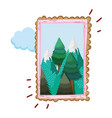 landscape with snow mountain square frame vector image