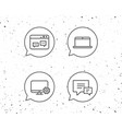 laptop chat speech bubbles and monitor icons vector image vector image