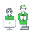 male with employee working on projects vector image vector image