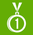 medal for first place icon green vector image vector image