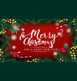 merry christmas and happy new year red postcard vector image