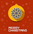 merry christmas retro card with orange ball vector image