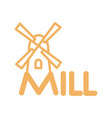 mill line icon sign for production of bread and vector image vector image