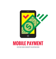 Mobile phone payment - digital money logo vector image