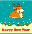 new year card with dog with deer horns on vector image vector image