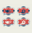 oval red sign set vector image vector image