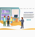 recruitment landing page or website vector image