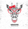 retro hipster animal giraffe hand drawing muzzle vector image