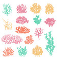 seaweed and coral silhouettes ocean reef corals vector image vector image