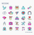 set of wedding icons in line style for invitation vector image