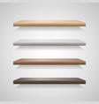 set wood shelves on grey background vector image